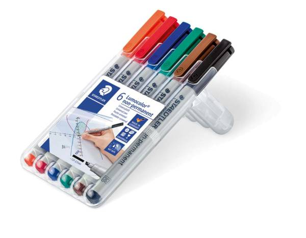 STAEDTLER Folienstift Lumocolor B 6 Farben sort. 312 WP6 nonperm.