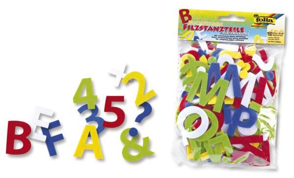 Stanzteile Filz 150 Buchstaben, selbstklebend, sortiert