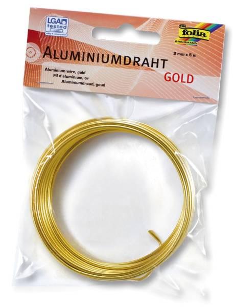 Basteldraht Alu gold, 2 mm x 5 m