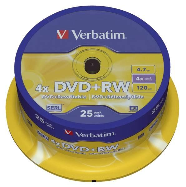 VERBATIM DVD+RW 25erSpindel 43489 4,7Gb120mi