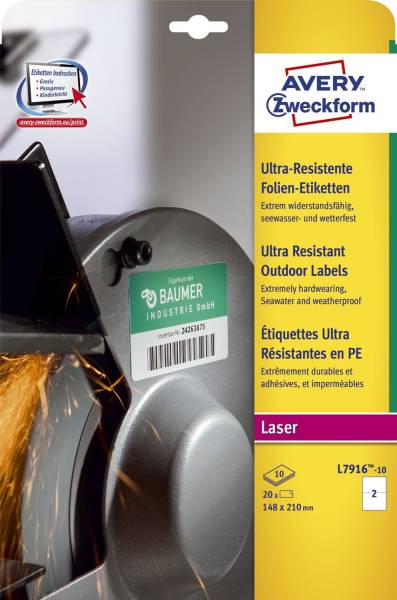 L7916 10 Ultra Resistente Folien Etiketten A4, 20 Stück, 210 x 148 mm, 10 Blatt weiß