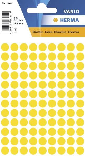 1841 Vielzwecketiketten gelb, Ø 8 mm, matt, 540 Stück