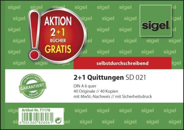 SIGEL Kassen-Quittung A6/2x40 Blatt 3 Stück T1178 2+1 (gratis) Aktion