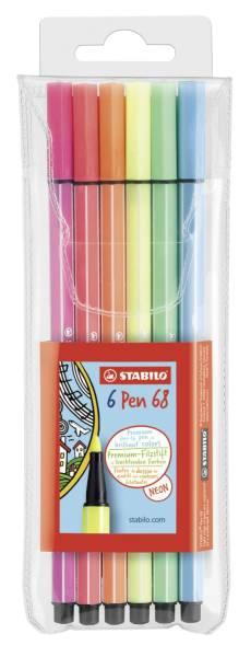 STABILO Fasermaler Pen 68 Etui 6 Stück 6806-1 Neonfarben