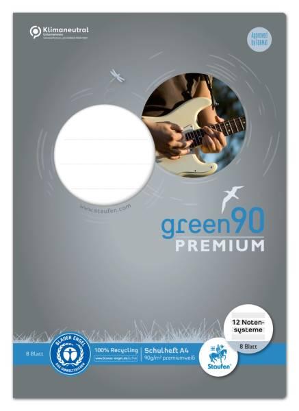 STAUFEN GREEN Notenheft A4 8 Blatt 040790014 12 Notensys.90g