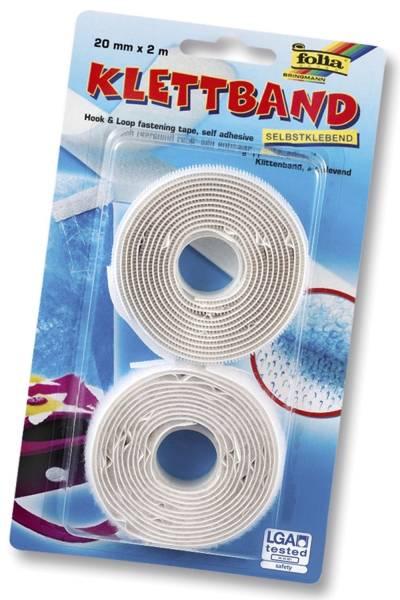 Klettband 20 mm x 2 m, weiß, selbstklebend
