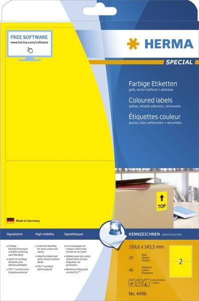 4496 Etiketten gelb 199,6x143,5 mm Papier matt 40 St ablösbar