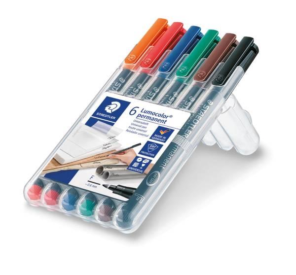 Feinschreiber Lumocolor Universalstift permanent, F, Box mit 6 Farben®
