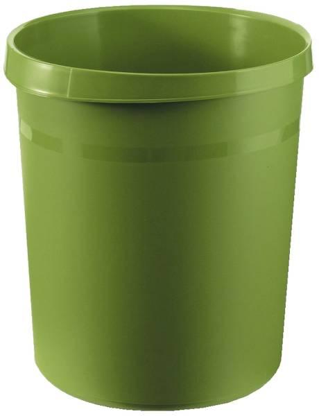 Papierkorb GRIP, 18 Liter, rund, 2 Griffmulden, extra stabil, grün