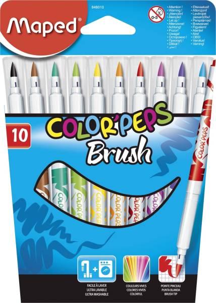 MAPED Pinselfasermaleretui 10St sort M848010 ColorPepsBrush