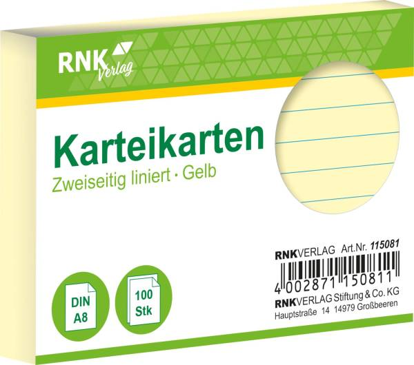 RNK Karteikarte A8 100 ST gelb 115081 liniert