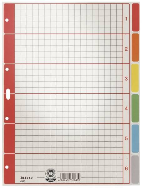 4350 Register blanko, Karton, farbig bedruckt, A4, 6 Blatt