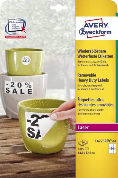 L4773REV 20 Wetterfeste Etiketten (A4, 480 Stück, ablösbar, 33,9 x 63,5 mm) 20 Blatt weiß
