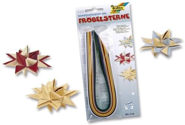 Papierstreifen für Fröbelsterne – 130 g qm, 100 Stück, Weihnachtsfarben sortiert