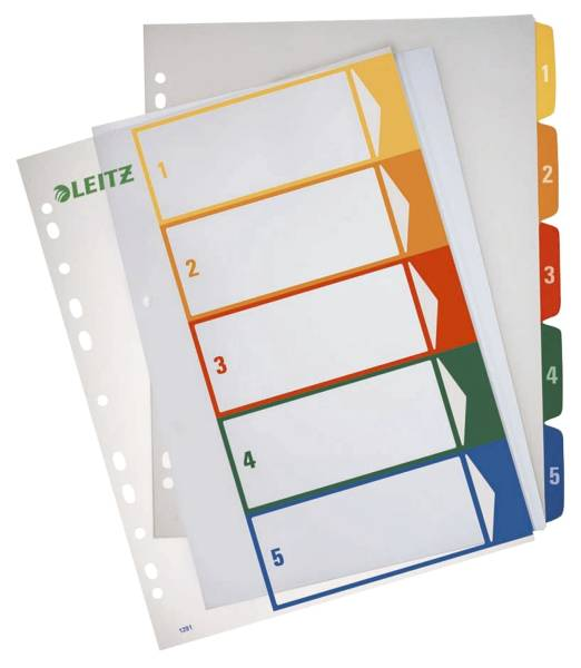 1291 Zahlenregister PP, blanko, bedruckbar, A4 Überbreite, 5 Blatt, farbig
