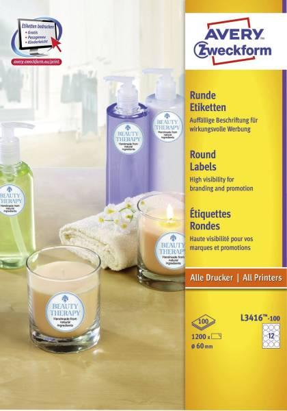 L3416 100 Etiketten in Sonderformaten, Ø 60 mm, 100 Blatt 1 200 Etiketten, weiß
