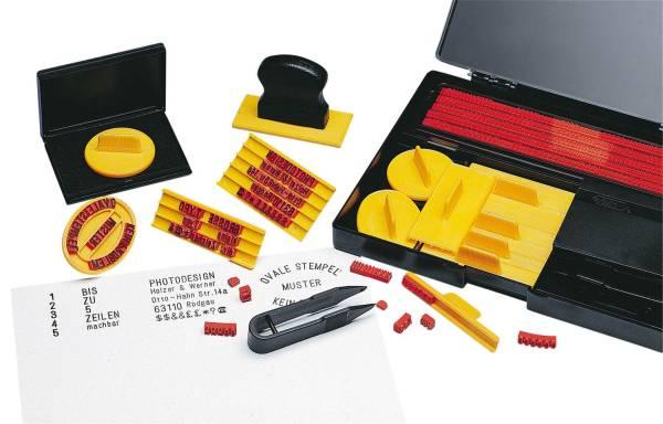 Stempel Druckerei groß Komplett Set, 571 Typen in Schrifthöhe 4 und 5 mm