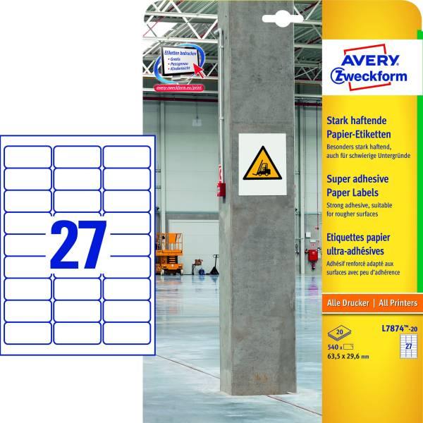 AVERY ZWECKFORM Universaletiketten 63,5x29,6 weiß L7874-20