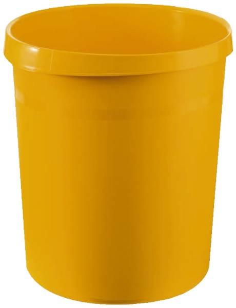 Papierkorb GRIP, 18 Liter, rund, 2 Griffmulden, extra stabil, gelb