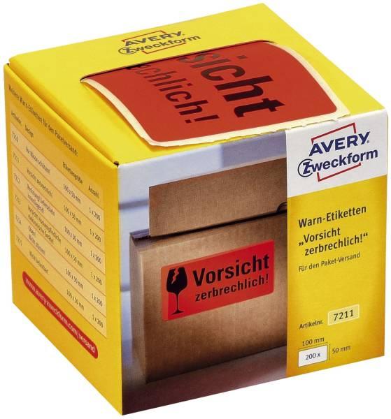 """7211 Warnetiketten """"Vorsicht zerbrechlich!"""" 200 Stück im Spender"""