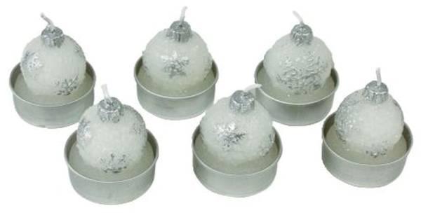 Weihn.Teelicht 6ST Kugel weiß 23052-4010 D3cm/44191