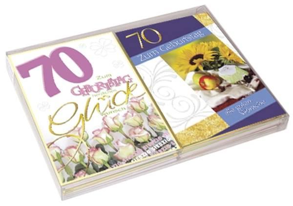 Geburtstagskarte Zahl 70, 20 Stück, sortiert