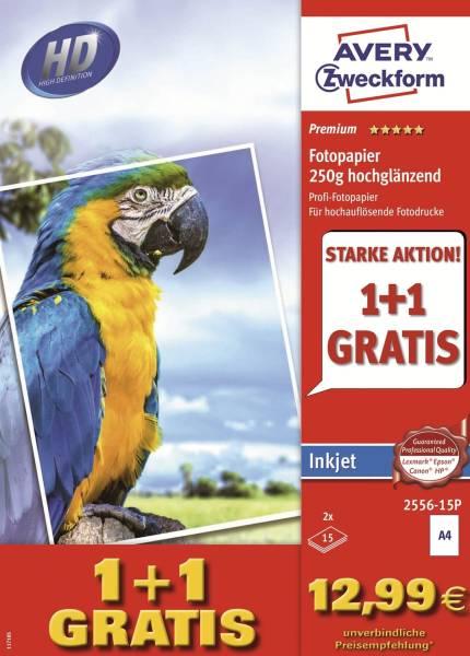 2556 15P Premium Inkjet Fotopapier DIN A4, hochglänzend, 250 g qm, 15 + 15 Blatt