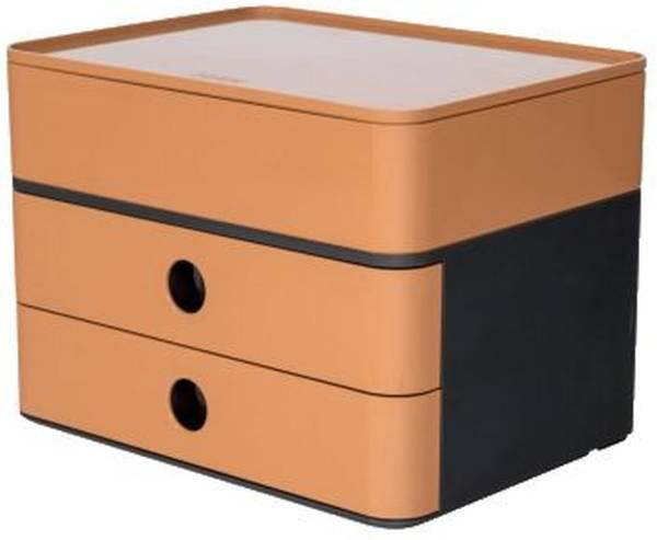 HAN Schubladenbox 2 Laden+Box grau/caramel 1100-83 Allison