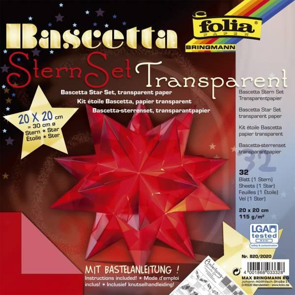 Bascetta Stern rot, transparent, Ø 30 cm