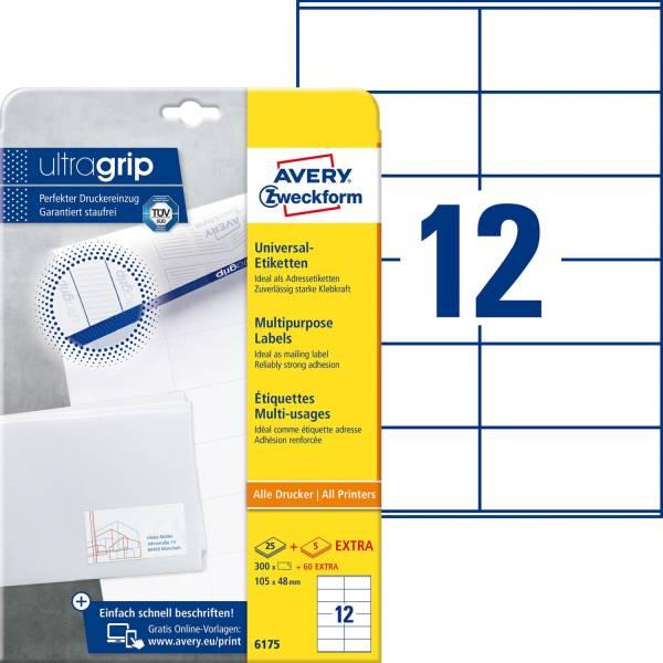 6175 Universal Etiketten 105 x 48 mm, weiß, 360 Etiketten 30 Blatt, permanent