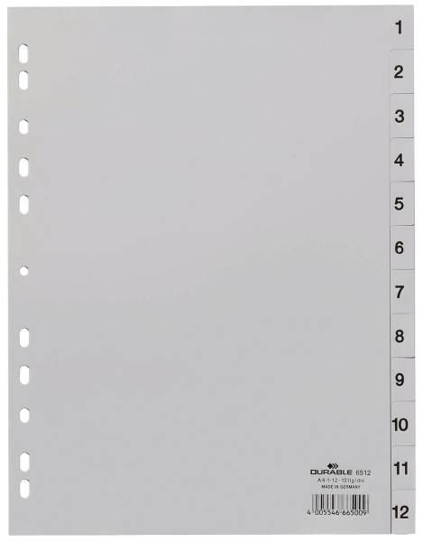 DURABLE Register 1-12 grau A4 6512 10 geprägte Taben