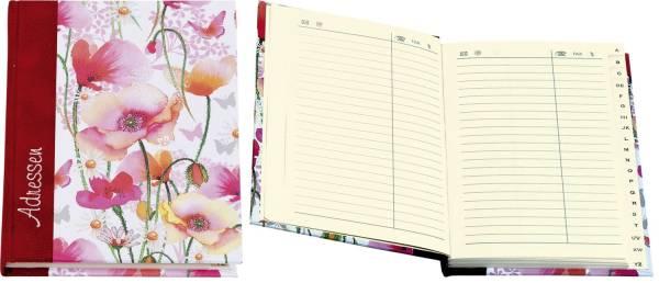 """Adressbuch """"Mohnwiese"""" A6, 20 tlg Register"""