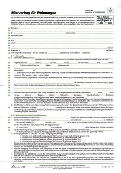 Mietvertrag für Wohnungen ausführliche Fassung, 6 Seiten, gefalzt auf DIN A4