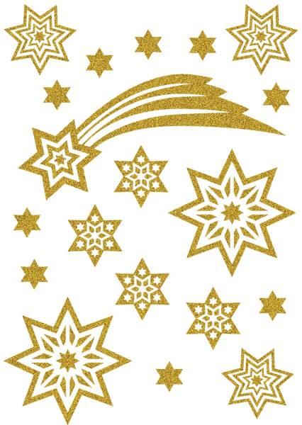HERMA Schmucketikett Sterne + Schweif 19 Stück 3726 Magic Weihnachten glittery