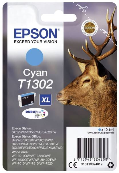 EPSON Inkjetpatrone T1302 cyan C13T13024012 10,1ml