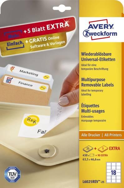 L6025REV 25 Universal Etiketten, 63,5 x 46,6 mm, 30 Bogen 540 Etiketten, weiß