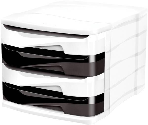 Schubladenbox Ellypse A4, 4 halboffene Schubladen, weiß pink , blau , grün , violett transparent