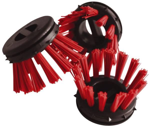 Rundbürsten Ø 30 rot zum Einsatz in Ringgummimatten, Pack mit 10 Stück