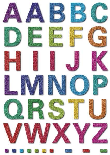 3664 Schmucketikett MAGIC Buchstaben 40 Stück, bunt, gittery