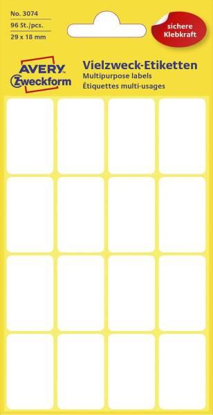 3074 Mini Organisations Etiketten, 29 x 18 mm, 6 Blatt 96 Etiketten, weiß
