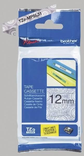 TZe MPSL31 Schriftbandkassette laminiert, 12 mm x 4 m, schwarz auf silbernen Spitzen