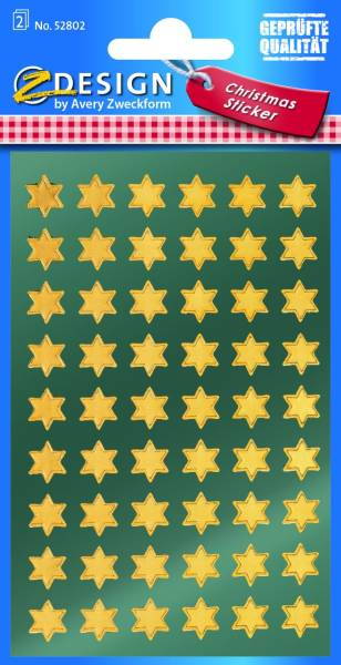 Z Design 52802, Weihnachtssticker, Sterne, 2 Bogen 108 Sticker
