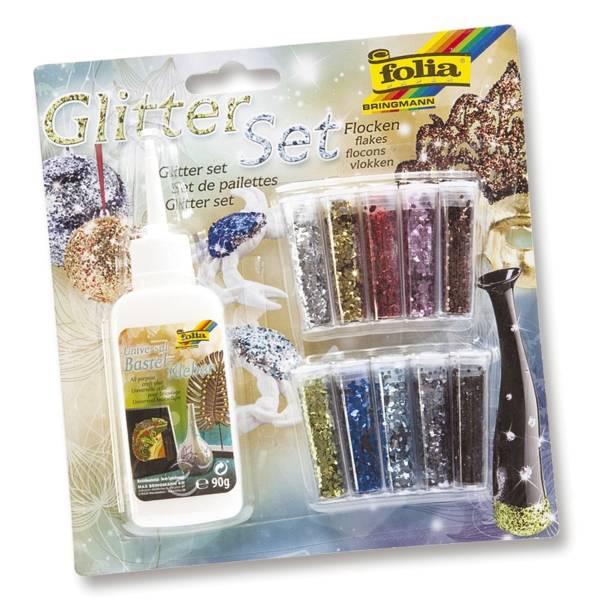 Glitterset Flocken, 10 farben sortiert, inkl Deko Kleber