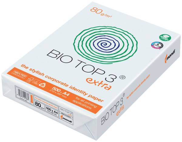 BIO TOP Kopierpapier A4 80g h.frei ws 3 2100005019 500Bl