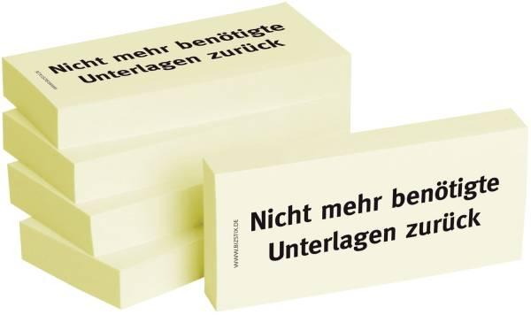 Bedruckte Haftnotizen Text: Nicht mehr benötigte Unterlagen zurück