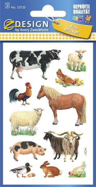 Z Design 53720, Kinder Sticker, Bauernhoftiere, 3 Bogen 33 Sticker
