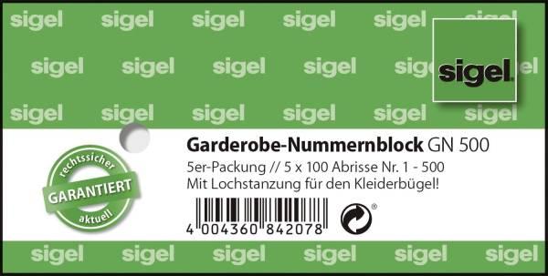 Garderobe Nummernblock nummeriert 1 500, 105 x 50 mm, 5 x 100 Stück, 2 fbg sortiert