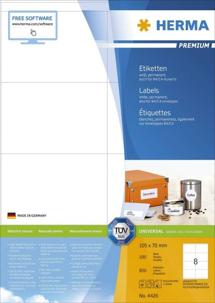 4426 Etiketten Premium A4, weiß 105x70 mm Papier matt 800 St
