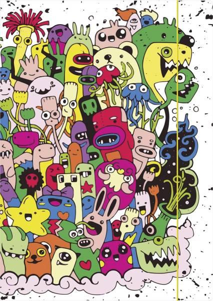 """Zeichenmappe """"Monster"""" A4, Karton, mit Gummizugverschluss"""