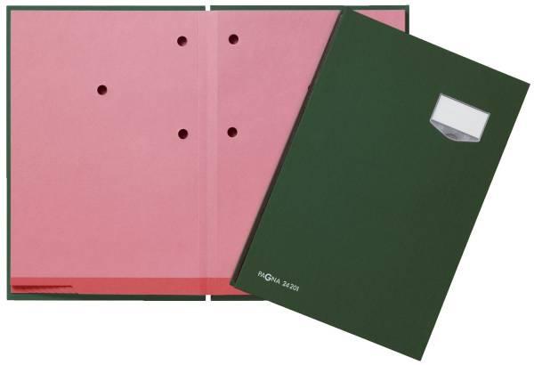 Unterschriftsmappe DE LUXE 20 Fächern, A4, Leinen Einband, grün